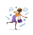 flat african american woman talk on phone vector image vector image