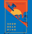 freeride snowboarder in motion sport poster or vector image