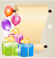 Gift boxes and scrolled paper vector image vector image