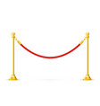 golden barricade with red rope - barrier rope vip vector image