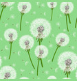 green seamless background with dandelion blowing vector image vector image
