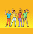 greeting a group of people waving their hands vector image