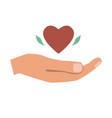 hand giving heart love charity or donation vector image