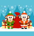 happy new year card with monkey santa claus vector image vector image