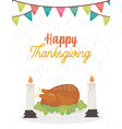 happy thanksgiving day baked turkey and candles vector image vector image