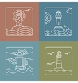 lighthouse logo design templates - linear vector image vector image