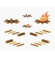 Low poly campfire and firewood vector image vector image