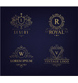 luxury logo set with heraldic crests and vector image