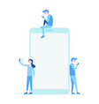 mobile phone and people set flat vector image