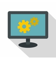 Monitor settings icon flat style vector image vector image