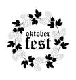 Oktoberfest Round Frame of Hops vector image