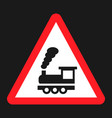 railroad crossing without barrier sign flat icon vector image vector image