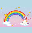 rainbow with cute unicorn or pegasus on pastel vector image