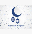 ramadan kareem lantern and moon with long shadow vector image vector image