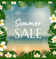Sale poster with palm trees and plumeria