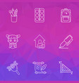 school icons line style set with school backpack vector image