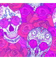 seamless neon texture with sugar skulls and roses vector image vector image