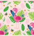 seamless pattern with cute pink flamingo vector image vector image