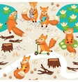 Seamless pattern with little cute foxes Cartoon vector image vector image
