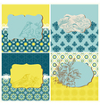 set cards - vintage tiles and birds vector image vector image