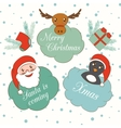 set cute cartoon christmas and new year vector image