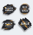 set four black brush strokes with flare black vector image vector image