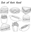 set of fast food in cartoon style vector image
