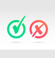 set of green check mark icon and red x cross tick vector image