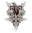 Skull with raven vector image vector image