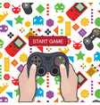 start game hand holding game controller icon game vector image vector image