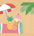 summer poster with umbrella and ice cream seascape vector image vector image