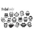 Tribal owl set in monochrome vector image vector image