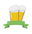 two beer glasses beverages with ribbon vector image vector image