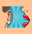 woman lips whispering in mans ear vector image vector image