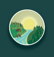 landscape round river and vector image