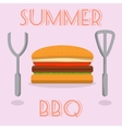Summer BBQ burger with cutlery vector image