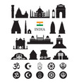 india objects icons silhouette vector image