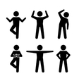 Yoga and Fitness Positions Black Silhouettes Human vector image