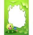 A border with a green monster watering a plant vector image vector image