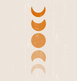 background with moon phases print boho minimalist vector image vector image