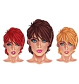 Beautiful girls with short haircuts vector image vector image