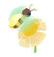 Bee on flower icon cartoon style vector image vector image