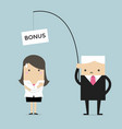 boss fishing businesswoman by bonus for work vector image vector image