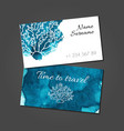 business card with coral on blue watercolor stain vector image vector image