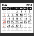 calendar sheet may 2018 vector image vector image