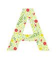 capital letter a green floral alphabet element vector image vector image