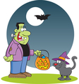 Cartoon Frankenstein with a Cat vector image vector image