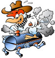 cartoon of an chef chicken riding a bbq grill vector image vector image