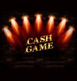 cash game gold frame banner vector image
