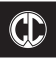 cc logo monogram circle with piece ribbon style vector image vector image